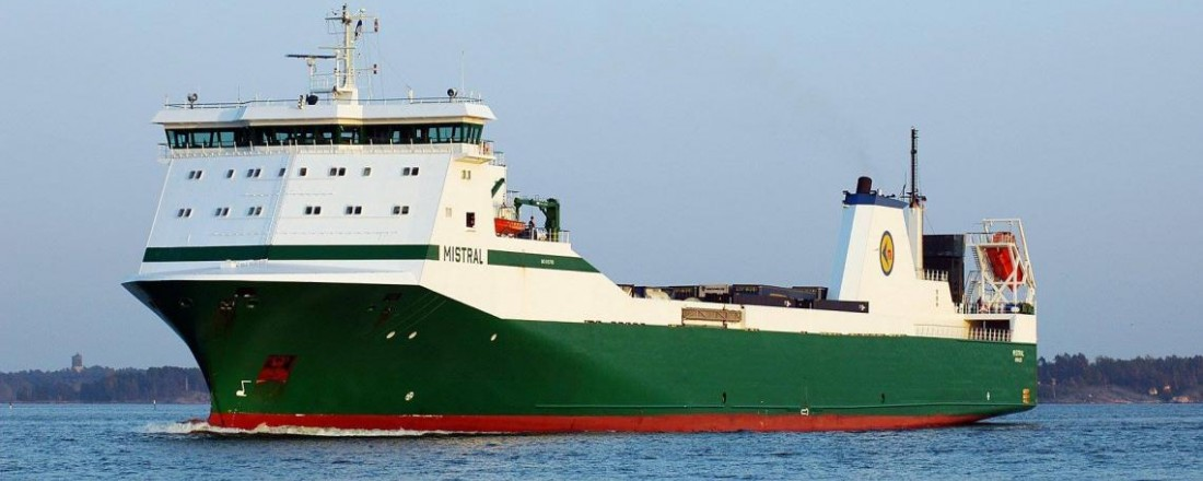 Finske Mistral skal seile mellom Vest-Norge og Nederland med gods. Foto: Godby Shipping.