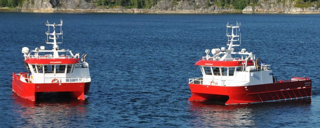 To av fire fartøy Moen Marin nylig leverte til Lerøy Midt. Foto: Moen Marin