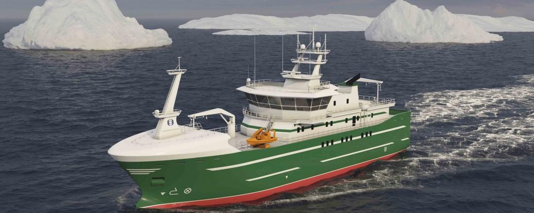 Marin Teknikk skal designe ein ny linebåt eit internasjonalt fiskeriselskap. Illustrasjon: Marin Teknikk