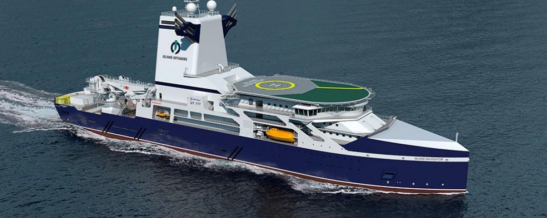 Island Navigator er under bygging ved Kawasaki Heavy Industries. Illustrasjon: Rolls-Royce.