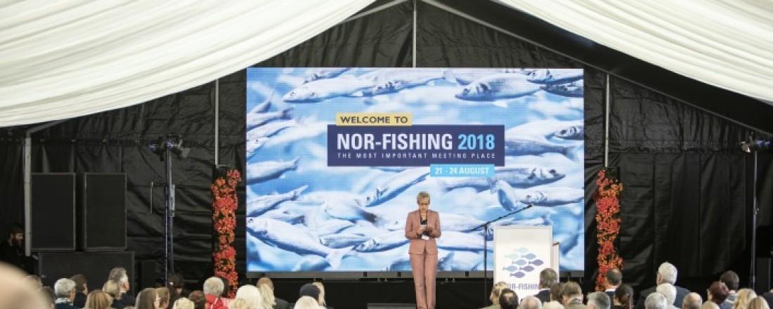 Stiftelsen Nor-Fishing vil bygge opp egen administrasjon for å sikre videre utvikling av messene Nor-Fishing og Aqua Nor. Her fra åpningen av fjorårets messe. Foto: Nor-Fishing.