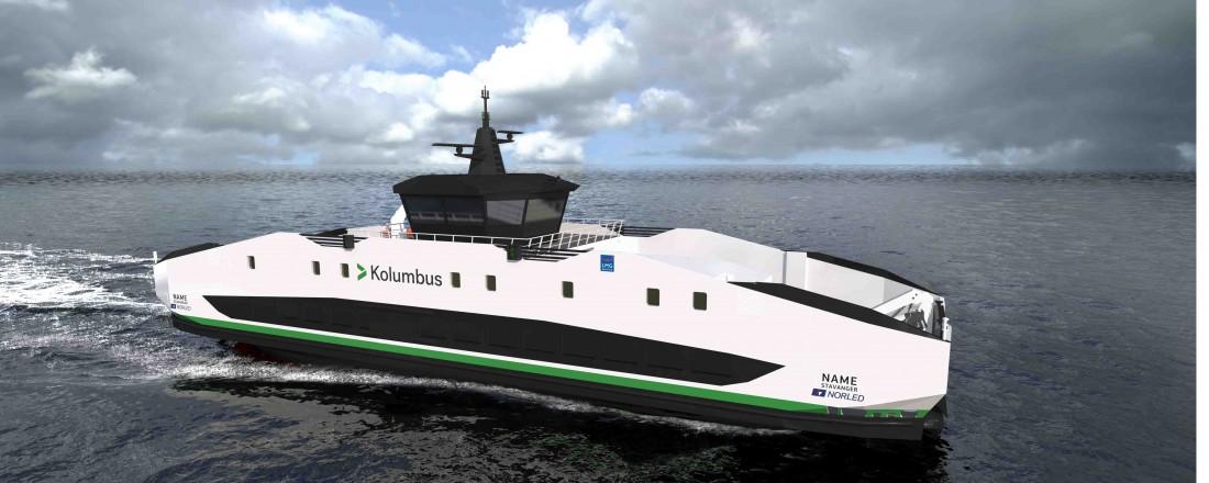 Slik blir den nye ferja som nå skal bygges for det nye sambandet i Ryfylkefjordene. Illustrasjon: LMG/Norled