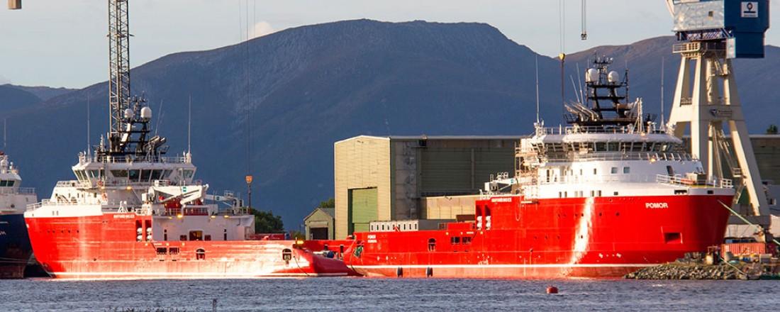 Pomor og Normann ved kai på Havyard Ship Technology. Milliardoppdraget feires med dobbeltdåp førstkommende lørdag. Foto: Pressefoto