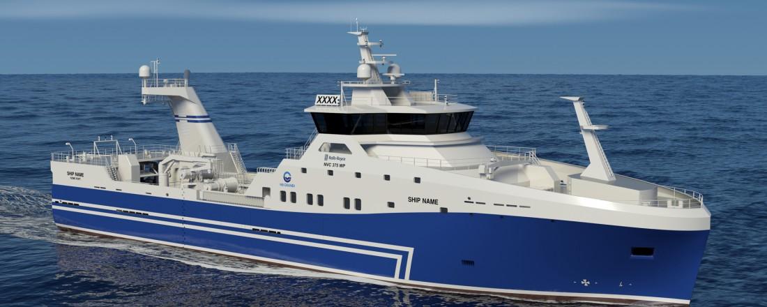 Det islandske rederiet får bygd en tråler med NVC 375 WP-design. Illustrasjon: Rolls-Royce