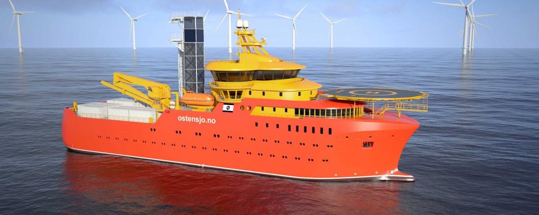 Østensjø Rederi har signert intensjonsavtale på fire støttefartøy for offshore vindindustrien. Illustrasjon: Salt Ship Design