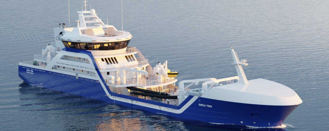 Larsnes Mek. skal levere brønnbåten til chilenske Naviera Orca Chile S.A. i slutten av året. Illustrasjon: Skipskompetanse.