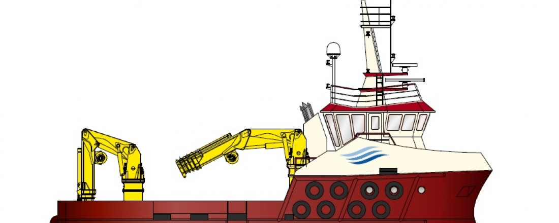 Tegningen som ble sendt ut av den første av arbeidsbåtene til det skotske oppdrettsselskapet Inverlussa Marine Services. Illustrasjon: Havyard
