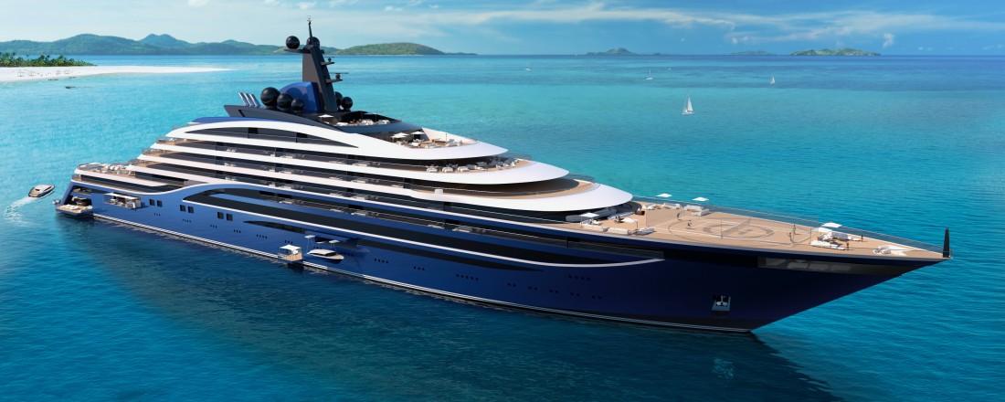 Somino blir verdens største yacht, og bygges på Sunnmøre av Vard Søviknes. Skipet skal romme 39 luksusleiligheter, som skal selges for å finansiere bygget. Illustrasjon: Vard