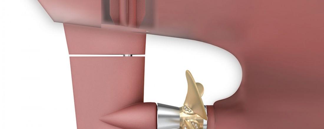 Promas er et system fra Rolls-Royce der propell og ror er integrert i én effektiv hydrodynamisk enhet. Systemet bidrar til økt effekt og bedret styringsevne. 3D-illustrasjonen viser også en styremaskin fra Rolls-Royce.
