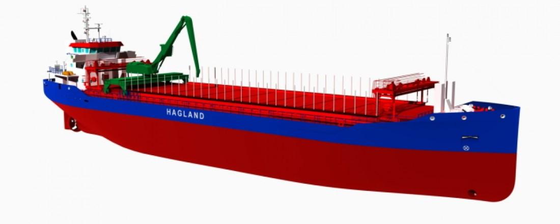 Enova bidrar med 26,8 millioner kroner for å bygge skipene. Illustrasjon: Hagland.