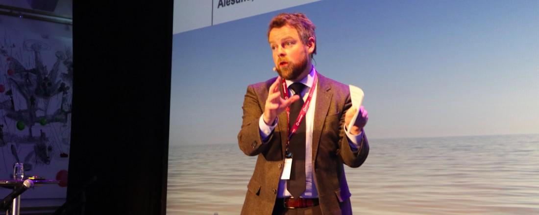 Torbjørn Røe Isaksen under åpningen av Verftkonferansen 2019. Foto: John Inge VIan