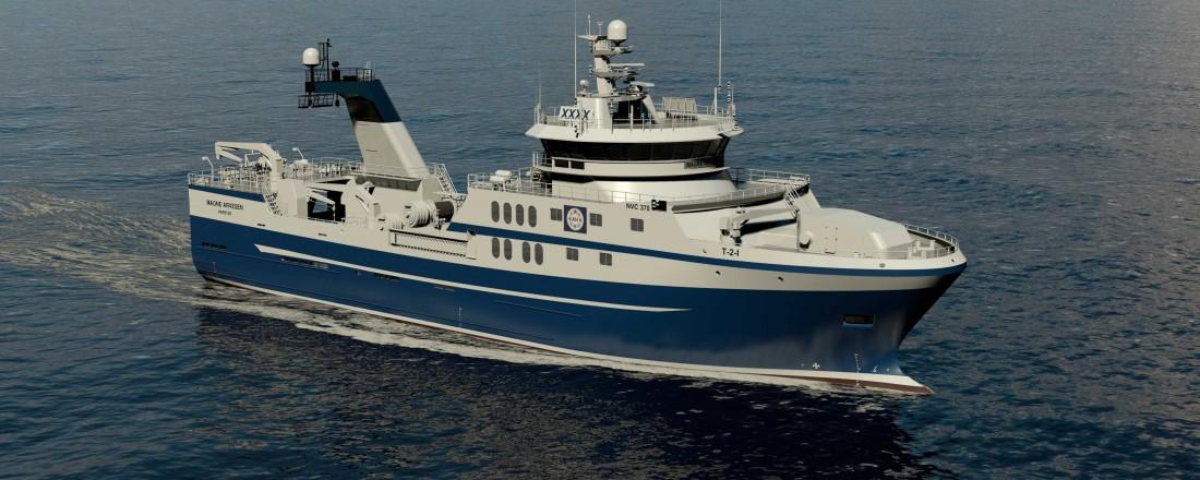 Rolls-Royce leverer design og skipsutstyr til en ny tråler til Engenes fiskeriselskap i Troms. Fartøyet bygges ved Gondan i Spania. Illustrasjon: Rolls-Royce
