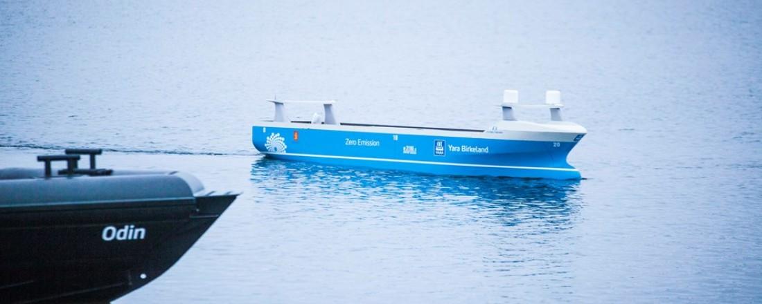 Fra en demonstrasjon av testmodellen av det autonome skipet Yara Birkeland. Foto: Horten kommune