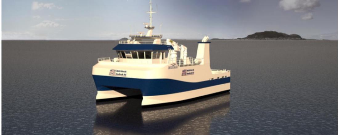 Servicekatamaranen som bygges ved Vard Aukra er designet av Marin Design. Illustrasjon: Marin Design