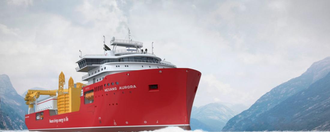Ulstein Verfts nye skip til Nexans har designtype ST-297 CLV, og en kabelkapasitet på hele 10 000 tonn. Illustrasjon: Skipsteknisk