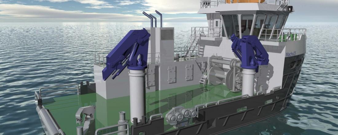 Slik blir servicebåten som Sletta skal bygge for Nova Sea Aquaservice. Designet er Macho 25 fra Møre Maritime. Illustrasjon: Sletta Verft/Møre Maritime