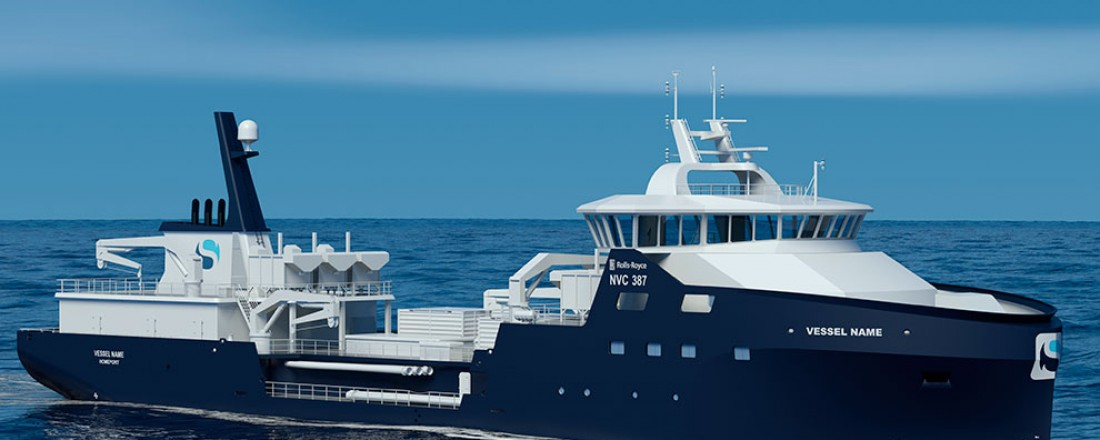 Brønnbåtane som Sølvtrans har kontrahert, har design NVC 387 frå Rolls-Royce.