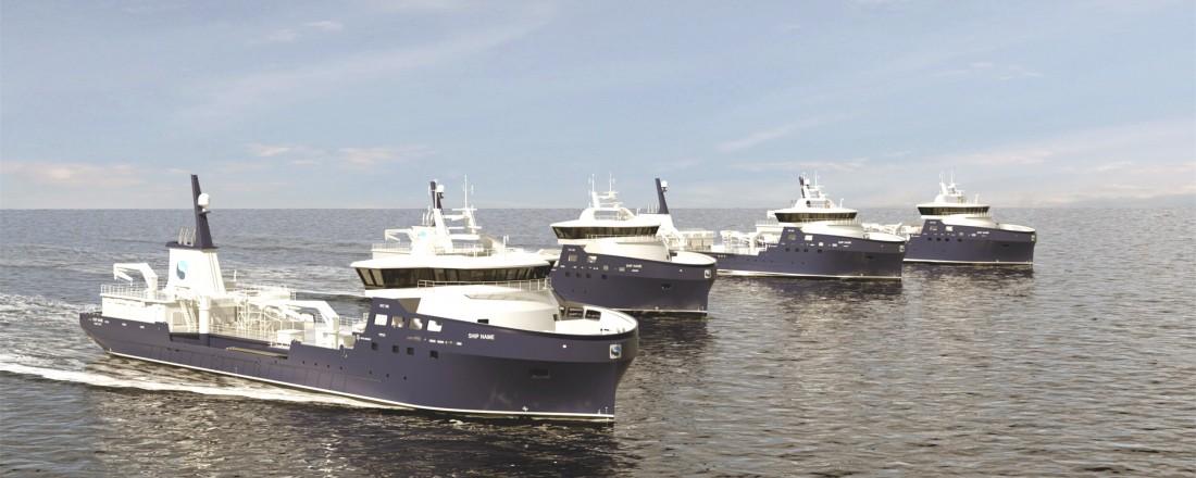 Nærmest er Kongsbergs illustrasjon av det nye designet NVC 390 LFC som har lagringskapasitet på 5000 kubikkmeter. I bakgrunnen er de tre søsterfartøyene med 4000 kubikkmeter lagringsplass av NVC 389 LFC design. Illustrasjon: Kongsberg.