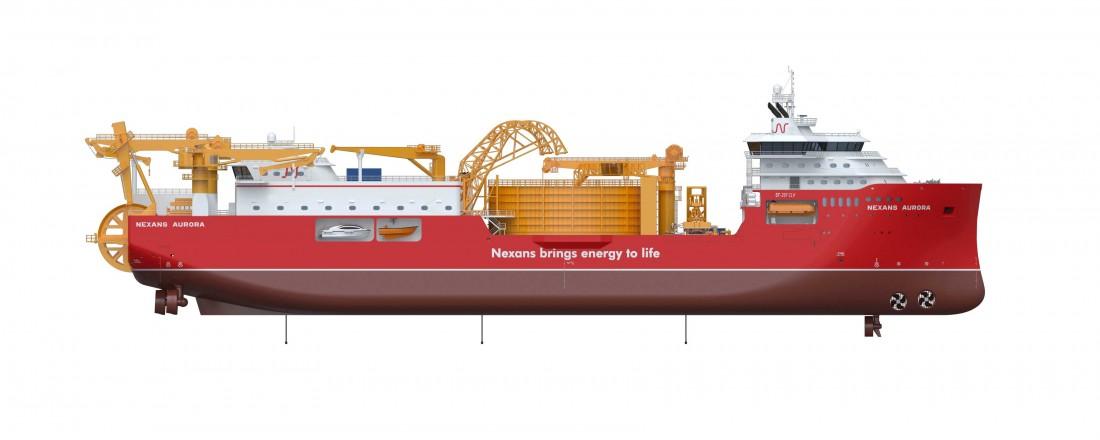 Ulstein Verft skal bygge en avansert kabellegger for Nexans. Illustrasjon: Skipsteknisk