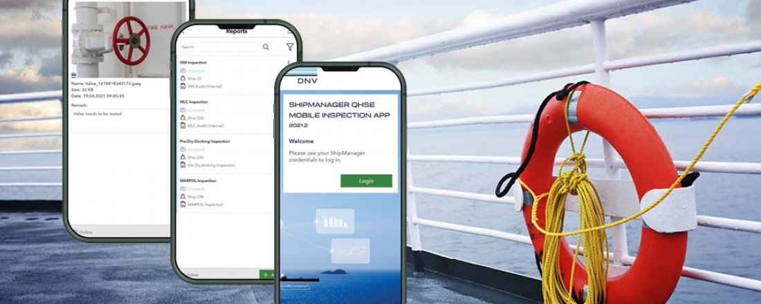 The solution is designed for all kinds of safety inspections by owners and managers, including planned inspections and ad-hoc vessel inspections. Illustration: DNV.