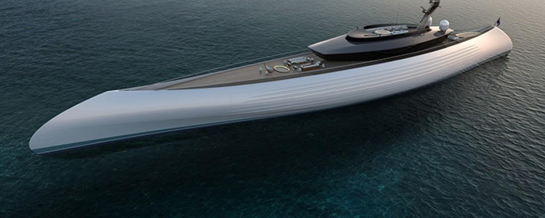 Superyacht i klassisk design får kontraroterende elektrisk fremdriftssystem fra ABB som øker effektiviteten med 10 prosent. Illustrasjon: Oceanco.