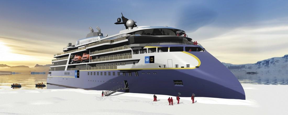 Ekspedisjonscruiseskipet er designa av Ulstein. Skipet skal byggast på Ulstein Verft med levering I 2021. Ill: Ulstein