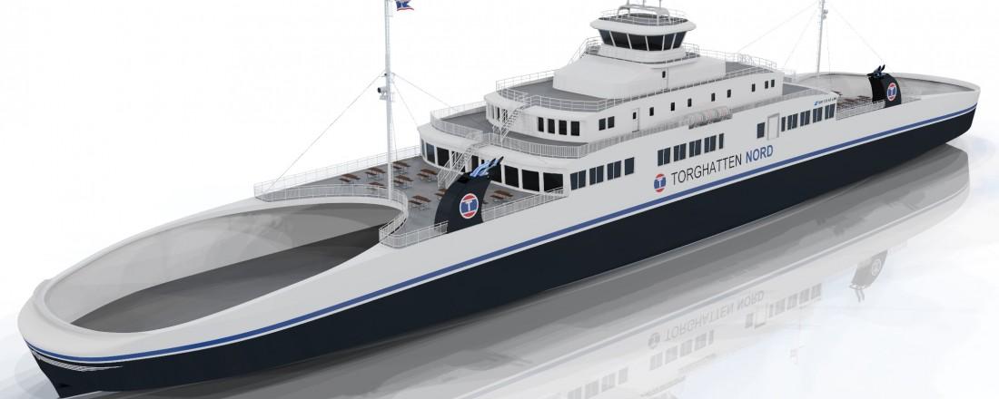 De fem nye ferjene til Torghatten Nord som skal trafikkere Halvik-Sandvikvåg er alle av design MM125FD LNG fra Multi Maritime. Illustrasjon: Multi Maritime