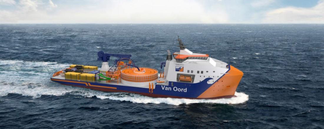 Van Oords nye kabelleggingsfartøy skal bygges ved Vard Brattvåg med forventet levering i 2023. Illustrasjon: Vard Design AS