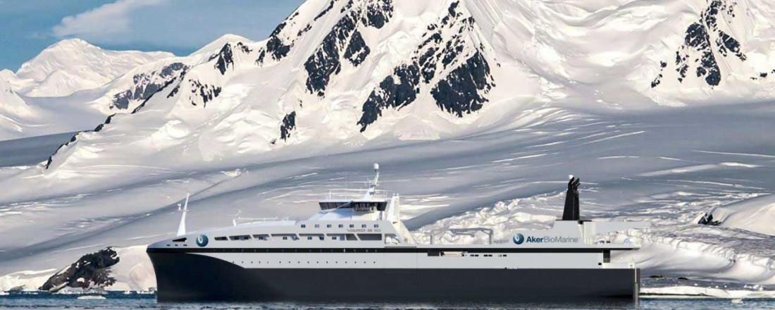 Aker Biomarines topp moderne krillfartøy bygges hos Vard Brattvaag, og utstyres blant annet med kraner fra Aukra Maritime. Ill: Vard
