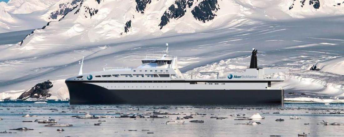 Den nye krillbåten som Aker BioMarine skal få bygget ved Vard Brattvaag. Illustrasjon: Vard.