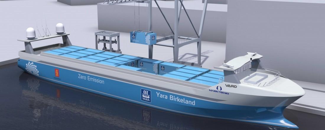 Yara Birkeland, verdens første elektriske, autonome frakteskip, bygges ved Vard Brevik. Ill: Marin Teknikk
