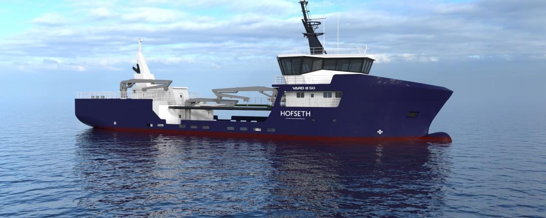 Fjordlaks Aqua har bestilt et fartøy med Vards 8 50-design. Illustrasjon: Vard