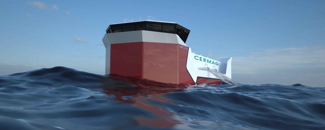 Vard Aukra bygger offshore baseflåter for havbruk til Cermaq. Illustrasjon: Vard Design