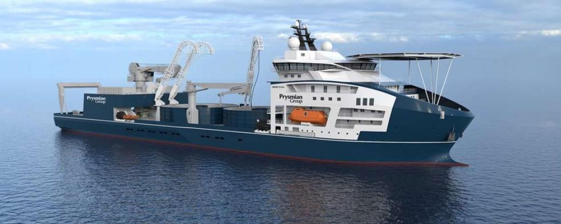 Vard Brattvaag bygger et nytt kabelleggingsfartøy for Prysmian Group. Illustrasjon: Vard Design