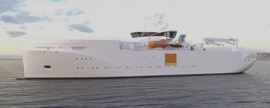 Cable repair vessel Vard 9 03design for Orange Marine. Overall length: Approx. 100 m. Beam: 18.8 m. Illustration: Vard Design