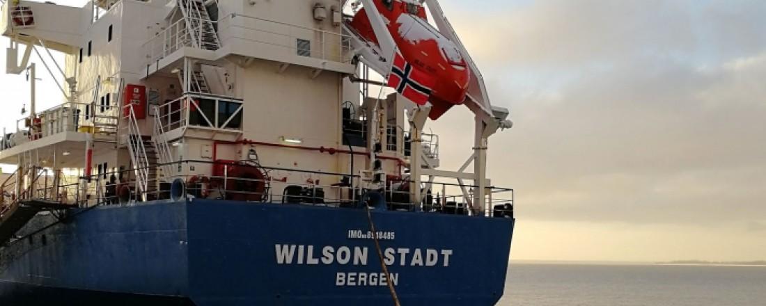Bergensrederiet Wilson ASA har flagget hjem hele 18 skip på under to år, blant annet Wilson Stadt. Foto: Wilson ASA