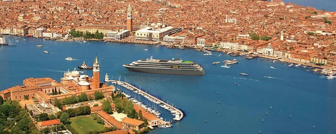 Det nye ekspedisjonsskipet får design fra Italia, bygges i Portugal og  får en stor utstyrspakke fra Rolls-Royce. Foto; Mystic Cruises.