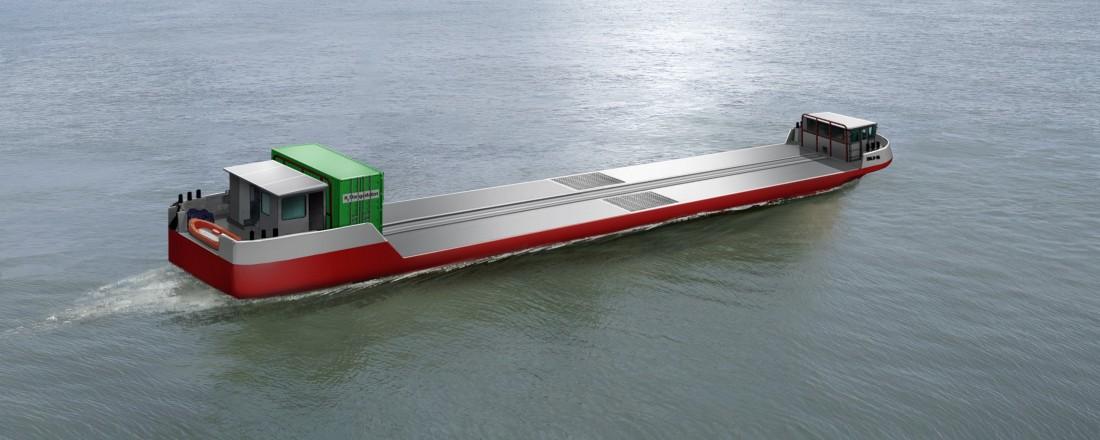 Fra slutten av 2021 skal et hydrogendrevet fartøy frakte gods på elva Seinen omkring i Paris-området. Illustrasjon: Innovasjonsprosjektet Flagships.
