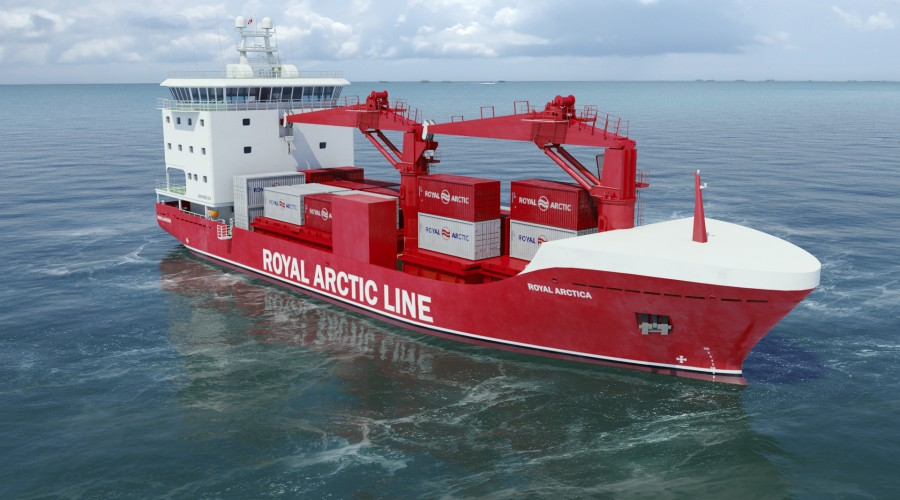 Royal Arctic Line har valgt framdrifts-, manøvrerings- og kontrollsystem frå Brunvoll for to nye cargo/container fartøy.  Illustrasjon: Havyard Design & Solutions AS.