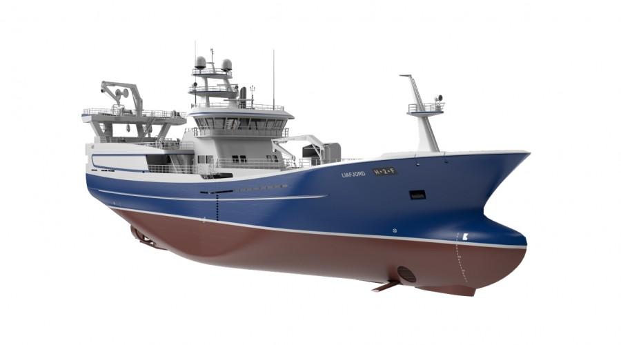 Liegruppens nye pelagiske tråler M/S Liafjord med foilmodul fra Wavefoil.
