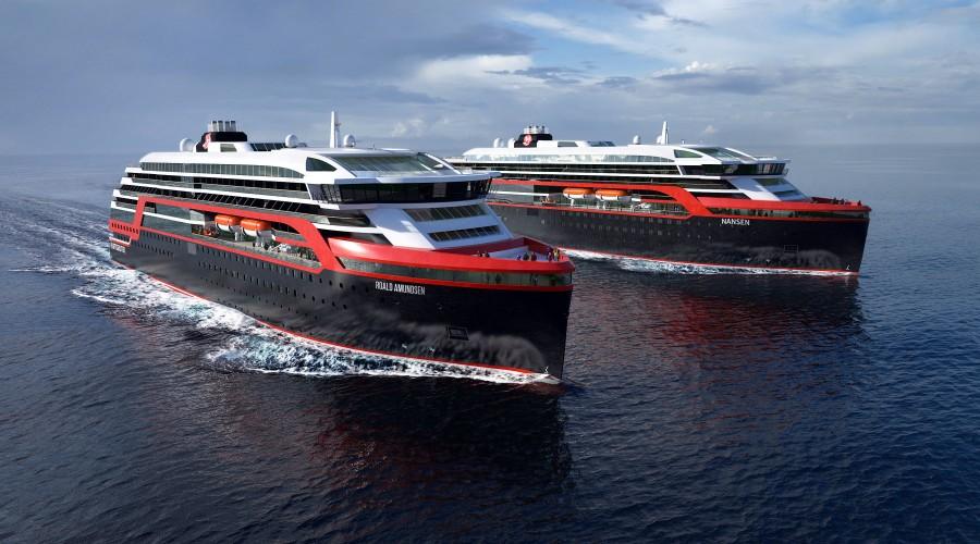 Hurtigrutens nye ekspedisjonsskip, med elektriske hybridmotorar og ny teknologi, blir meir miljøvennlege enn nokon andre i bransjen til no. Illustrasjon: Hurtigruten/Rolls-Royce