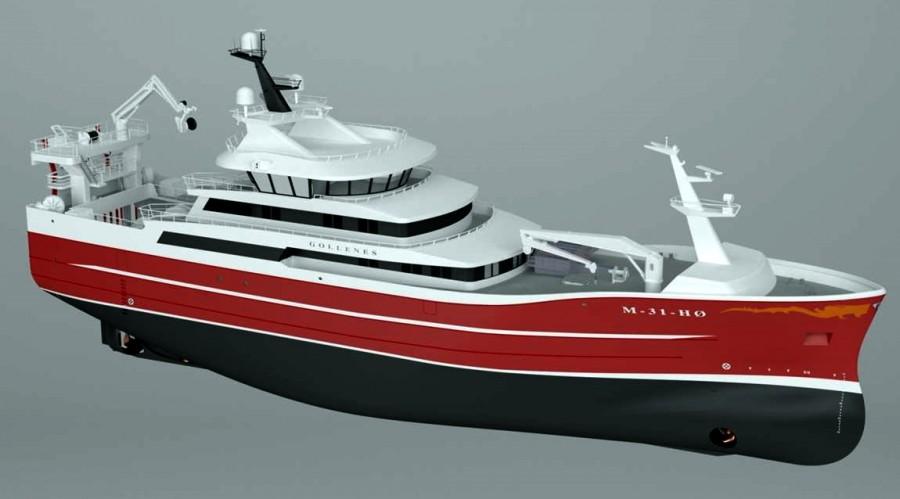 Karstensens Skipsværft skal bygge den nye Gollenes. Illustrasjon; Karstensens