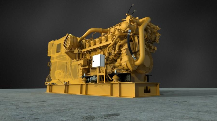 Generatorsettene fra Pon Power er basert på de nye Caterpillar 3512E-motorene. Illustrasjon: Pon Power