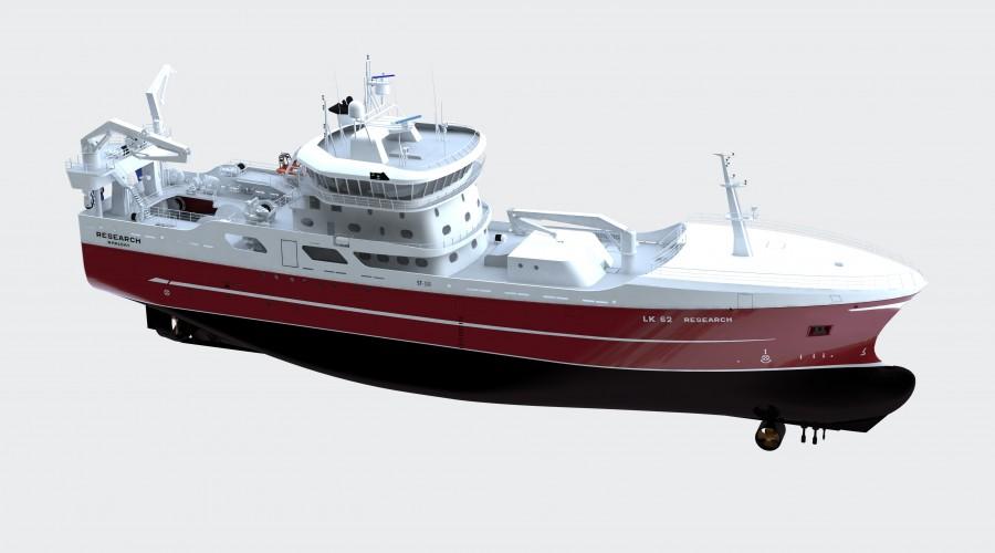 Vard bygger ny tråler til Research Fishing Company, med design fra Skipsteknisk. Illustrasjon: Skipsteknisk