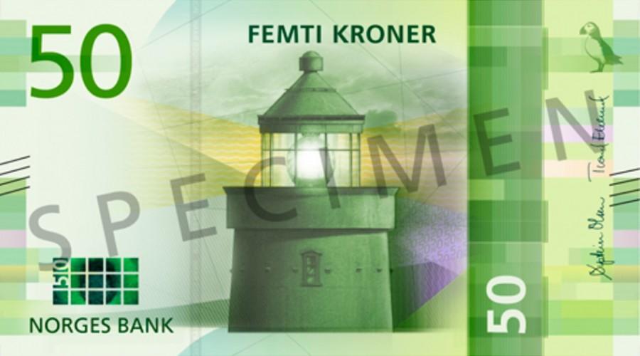 Nye 50-kronesedler med bilde av Utvær fyr. Illustrasjon: Norges Bank