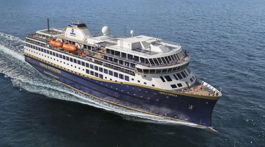 Havila Kystruten håper på å komme i gang med seilingene langs kysten i slutten av september. Illustrasjon: Havila Kystruten.