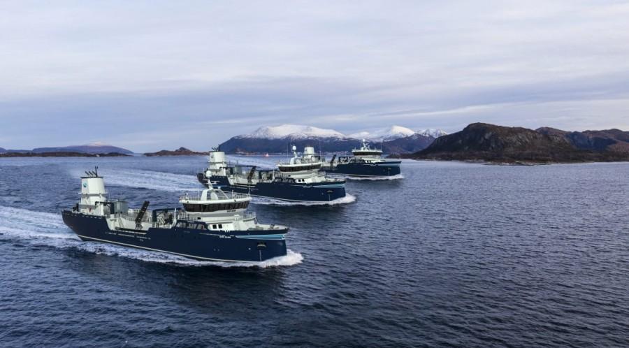 De tre brønnbåtene, som er søsterskip, er av verftets eget design, type AAS 3002 ST. Illustrasjon; Aas Mek. Verksted.