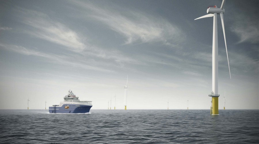ABB leverer hybrid kraftsystem med energilagring til servicefartøy for offshore vindparker. Illustrasjon: Salt Ship Design
