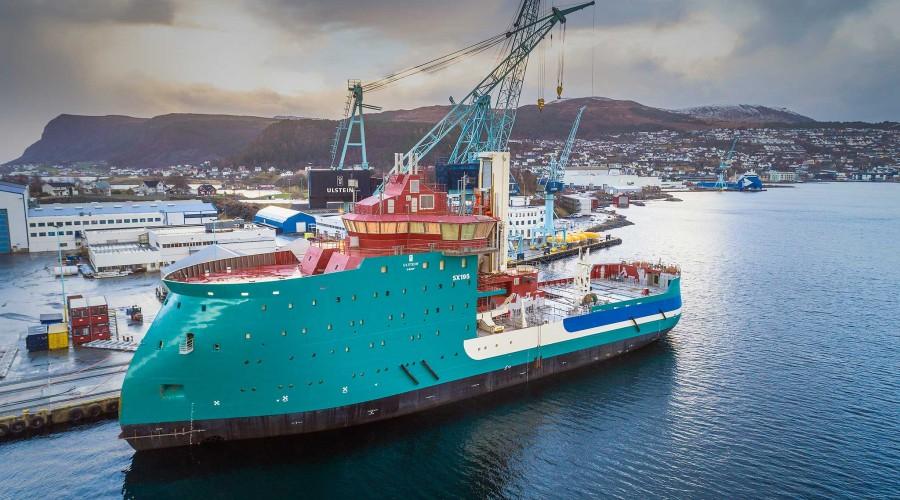 Acta Centaurus skal leverast frå Ulstein til Acta Marine i starten av andre kvartal 2019. Foto: Per Eide Studio
