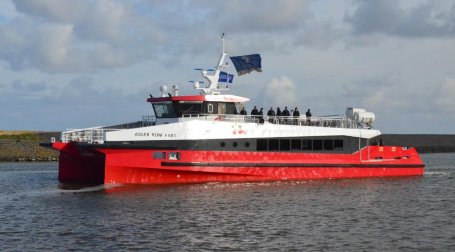 The study is therefore based on an existing and technically feasible vessel: the Adler Rüm Hart  ferry. Photo: Wyker Dampfschiffs-Reederei.
